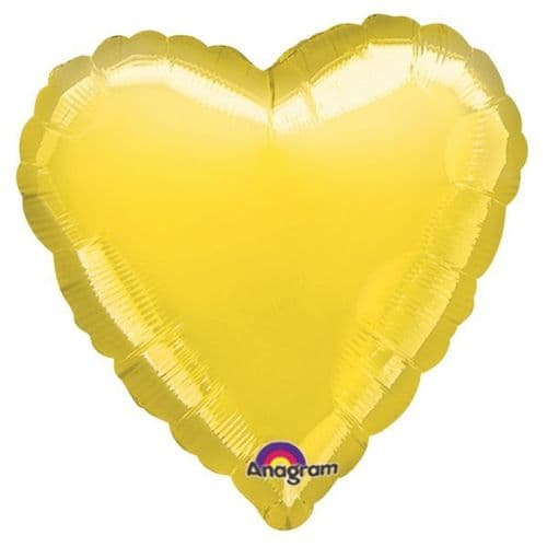 Metallic Yellow Heart Foil Balloon