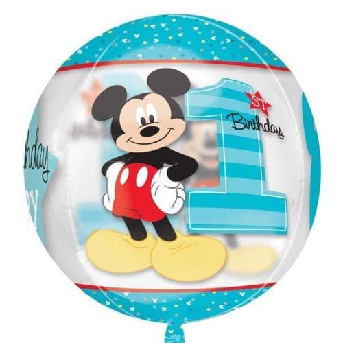 "Mickey Mouse 1st Birthday Boy Clear Orbz Foil Balloons 15"" x 16"""