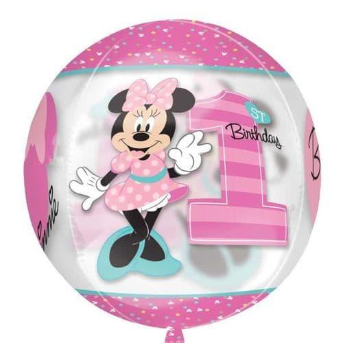 "Minnie Mouse 1st Birthday Boy Clear Orbz Foil Balloons 15"" x 16"""