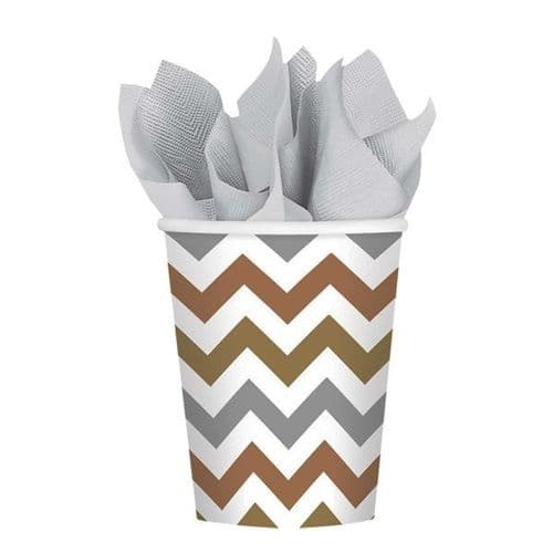Mixed Metals Chevron Paper Cups 266ml pack of 8.