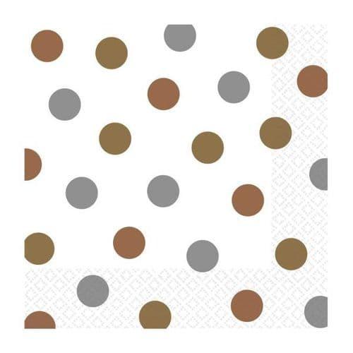 Mixed Metals Dots Luncheon Napkins 33cm 16 per pack.