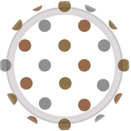 Mixed Metals Dots Paper Plates 23cm 8 per pack.