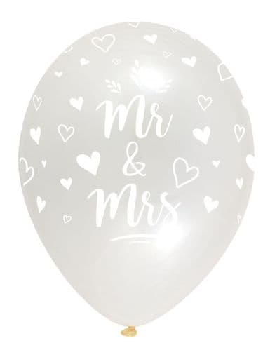 """Mr & Mrs Latex Balloons Crystal Clear All Round Print 6 x 12"""" per pack"""