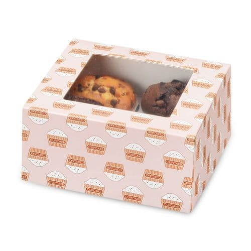 Muffin /Cupcake Box + Insert (holds 4 Cakes) - pack of 2
