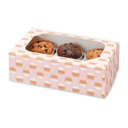 Muffin /Cupcake Box + Insert  (holds 6 cakes) - pack of 2