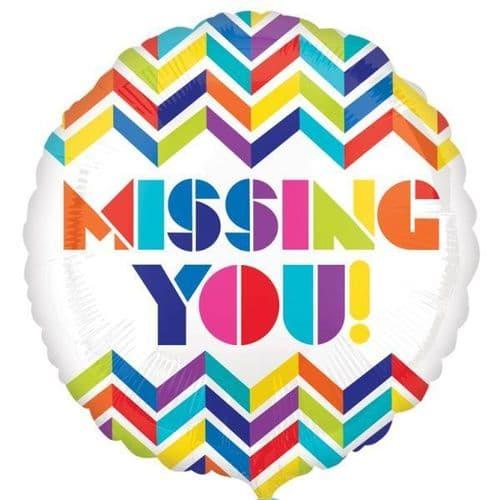 Multi Chevron Missing You! - Standard HX Foil Balloon
