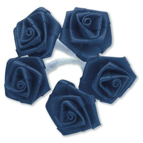 Navy Blue Ribbon Roses/Medium - dia. 20mm - packed in 144's