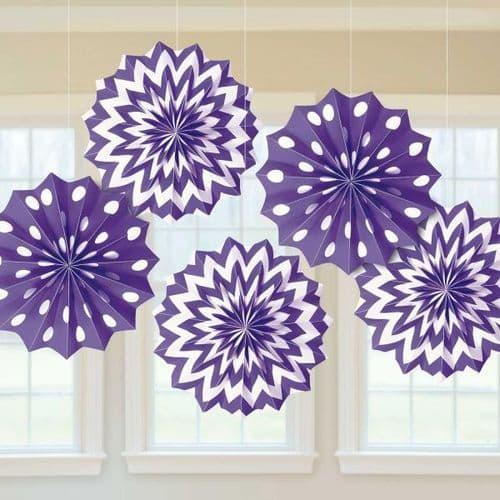 New Purple Dots & Chevron Paper Fans 20cm pack of 5.