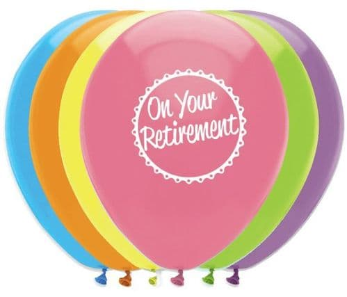 """On Your Retirement Latex Balloons 2 Sided Print 6 x 12"""" per pack"""
