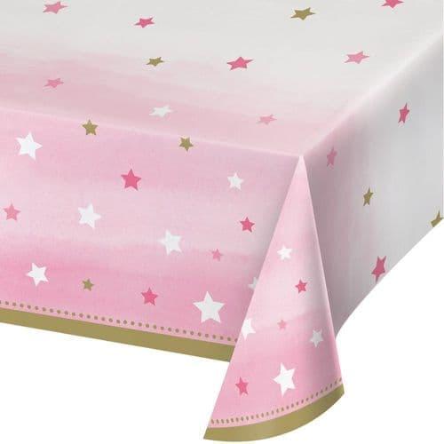 "One Little Star Girl 54"" x 102"" Plastic Tablecover"