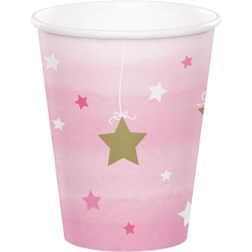 One Little Star Girl 8 x 256ml Paper Cups