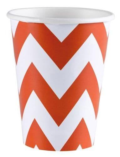 Orange Peel Chevron Paper Cups, 256ml 8 per pack.