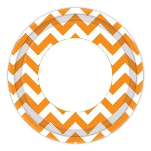 Orange Peel Chevron Paper Plates 23cm 8 per pack.