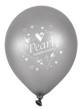 """Pearl Anniversary Latex Balloons Pearlescent 2 Sided Print 6 x 12"""" per pack"""