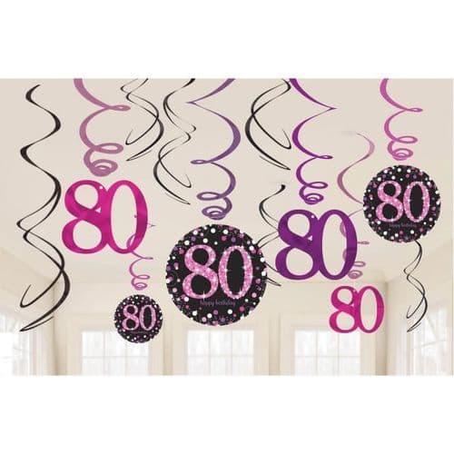 Pink Celebration 80th Swirl Decorations 12 per pack.