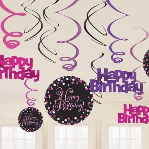 Pink Celebration Swirl Decorations 12 per pack.