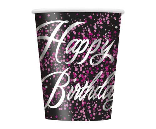 Pink Glitz Happy Happy Birthday 9oz Cups 8's