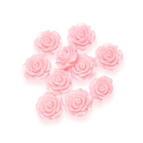 Pink Resin Rose Flower - 14mm (10) - 6 packs