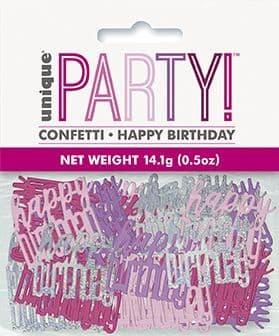 Pink & Silver Glitz Happy Birthday Foil Confetti 0.5oz