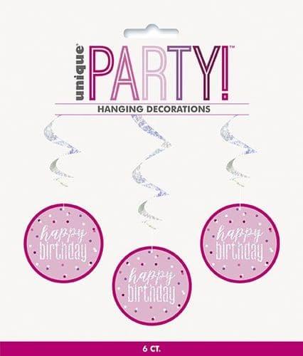 "Pink & Silver Glitz Happy Birthday Hanging Swirls 32"" Long"
