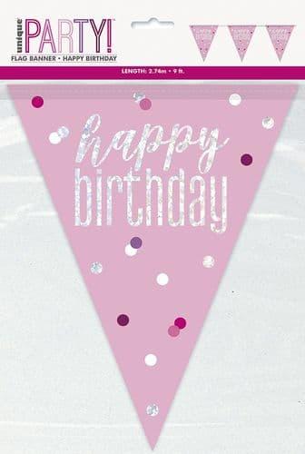 Pink & Silver Glitz Happy Birthday Prismatic Bunting 9ft