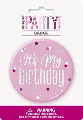 Pink & Silver Glitz 'It's My Birthday' Badge