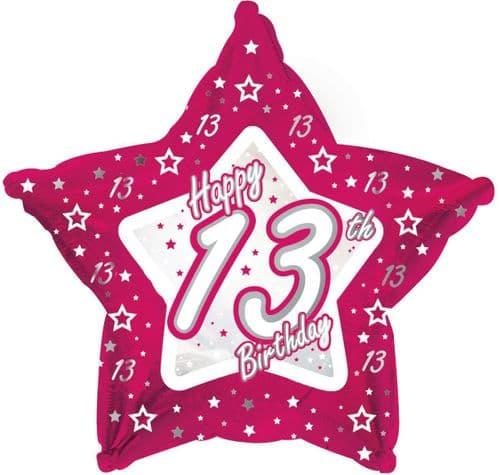 Pink Stars Age 13 Foil Balloon