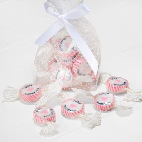 """Pink Strawberry Sugar Rock Sweets """"Just Married"""" - pack of 50"""