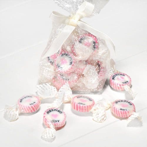 """Pink Strawberry Sugar Rock Sweets """"Wedding Day""""- pack of 50"""