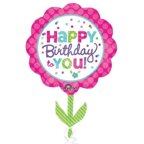 """Pink & Teal Happy Birthday Foil Supershape Balloon 21"""""""