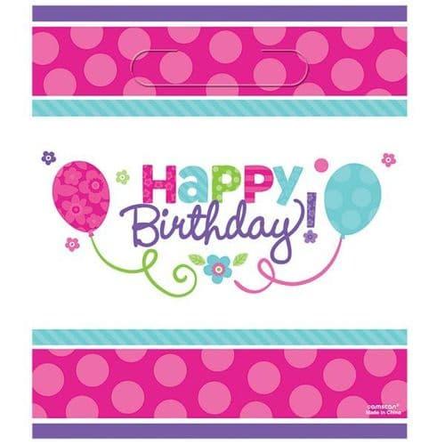 Pink & Teal Happy Birthday Loot Bags 8 per pack.