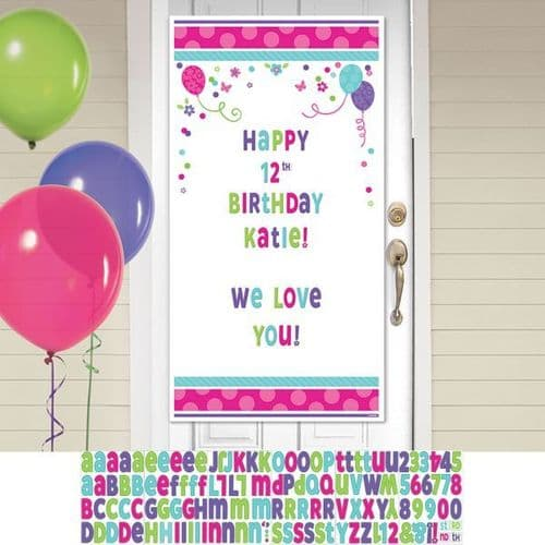 Pink & Teal Happy Birthday Personalise it! Door Decoration Kits