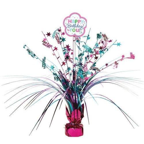 Pink & Teal Happy Birthday Spray Centrepiece