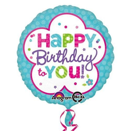 Pink & Teal Happy Birthday Standard Foil Balloons