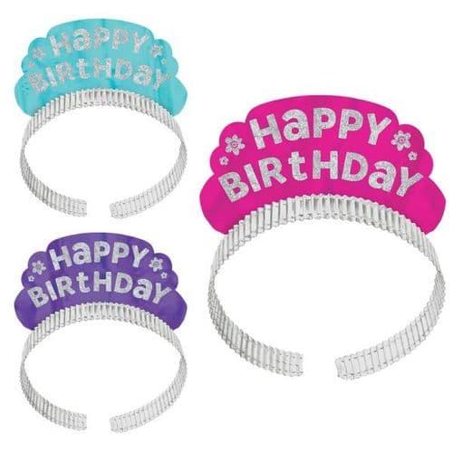 Pink & Teal Happy Birthday Tiaras 12 per pack.