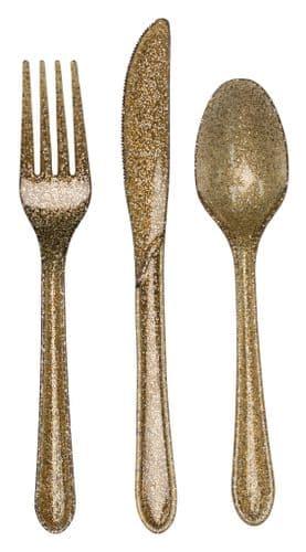 Plastic Premium Cutlery Gold Glitter Heavy Duty Assorted