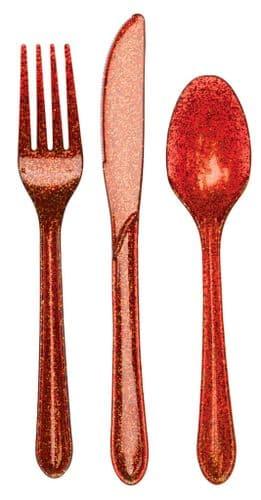 Plastic Premium Cutlery Red Glitter Heavy Duty Assorted