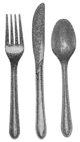 Plastic Premium Cutlery Silver Glitter Assorted