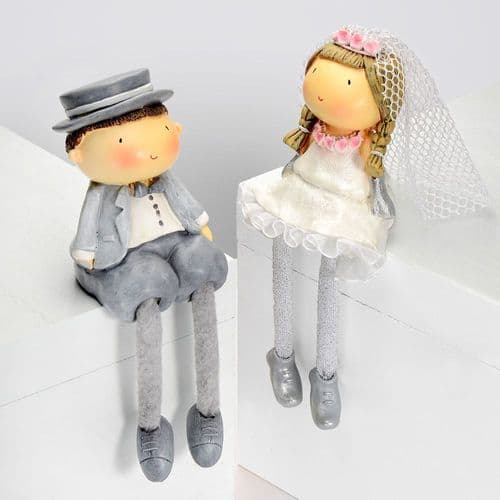 Poly Resin Wedding Couple with Dangly Legs