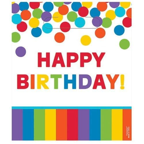 Primary Rainbow Happy Birthday Loot Bags 8 per pack.