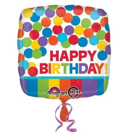 Primary Rainbow Happy Birthday Standard Foil Balloons