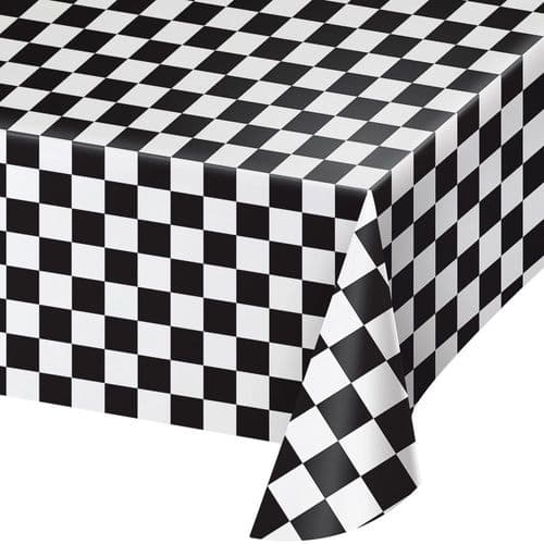 """Racing Stripes Plastic Tablecover All Over Print 54"""" x 108"""""""