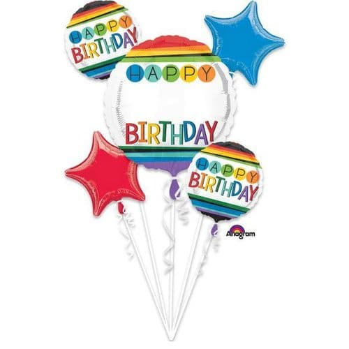 Rainbow Birthday Personalized Foil Balloon Bouquets