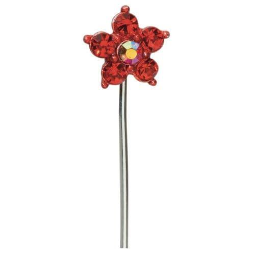 Red Diamond Daisy on Stem - dia. 15mm - pack of 10