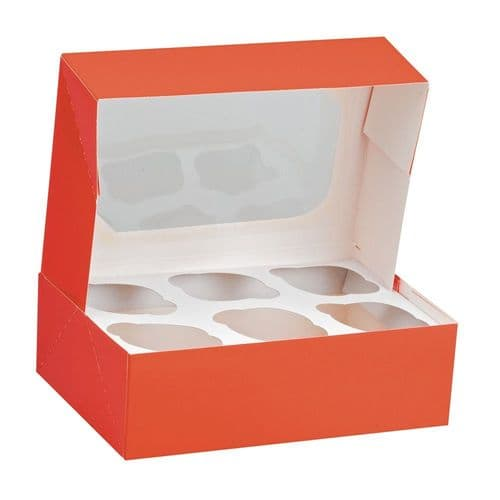 Red Glossy Muffin/Cupcake Box + Insert ( holds 6 Cakes) - pack of 2