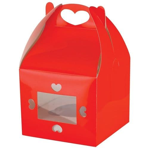 Red Muffin/Cupcake Box + Insert  (holds 1 Cake) - pack of 2