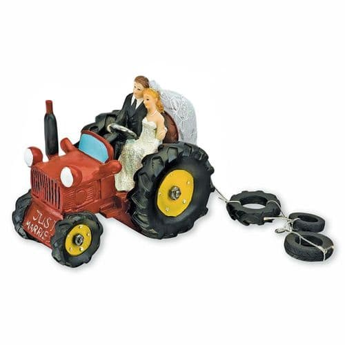 Red Resin Bride & Groom on Tractor
