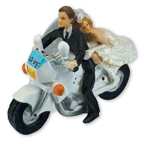 Resin Bride & Groom on Motorbike