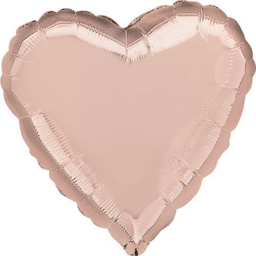 Rose Gold Solid Colour Heart Foil Balloon