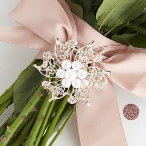 Rose Quartz Brooch with Pearls & Diamantes